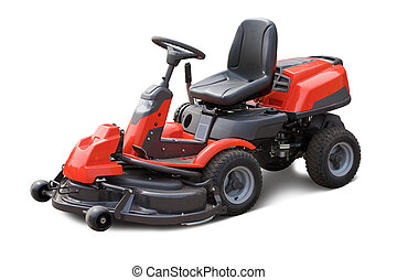 lawn mower - Red lawn mower. Isolated over white background