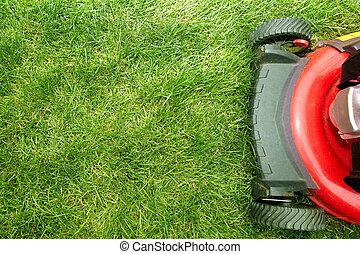 Lawn mower. - Red Lawn mower cutting grass. Gardening...