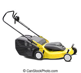 lawn-mower - Yellow lawn mower. Isolated over white...