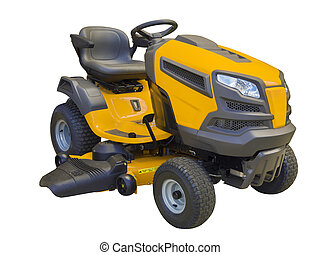 Sitting lawn mower tractor used for larger yards, isolated