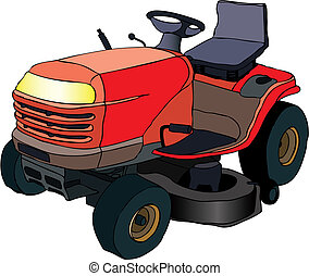 Lawn mower tractor - Vector illustration of red lawn mower ...