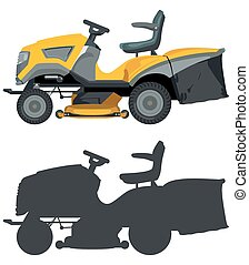 Lawn mower - Yellow lawnmower on a white background