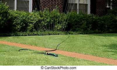 Lawn Sprinkler - Lawn sprinkler connected to a garden hose ...