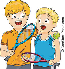 Lawn Tennis Boys - Illustration of a Pair of Boys Holding...