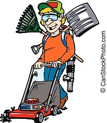lawnguy - A male individual mowing a lawn with the tools of...