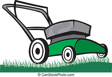 Lawnmower - An Illustration of a Lawn mower on the grass