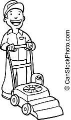 Lawnmower Gardener Line Art cartoon.