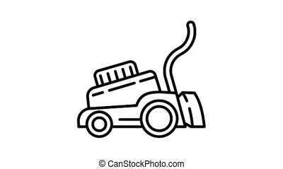 Lawnmower icon animation best on white background for any design