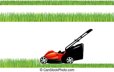 Lawnmower With Grass Set, Isolated On White Background,...