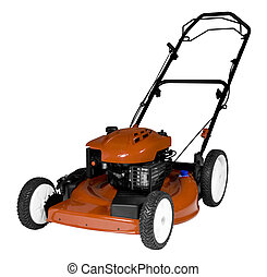 Lawnmower Isolated - An isolated lawnmower on a white...