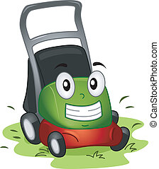 Mascot Illustration Featuring a Lawnmower at Work