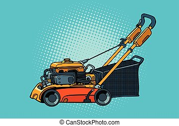 lawnmower mower lawn mower trimmer. Pop art retro vector...