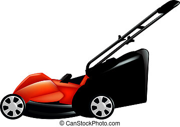 Lawnmower - Red Lawn Mower, Isolated On White Background,...