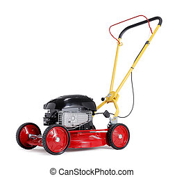 Lawnmower - Red new retro-styled lawn mower isolated on...