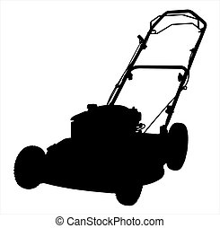 An illustration of a lawnmower silhouette on a white background.