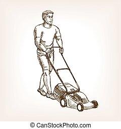 Lawnmower sketch vector - Lawnmower sketch style vector...