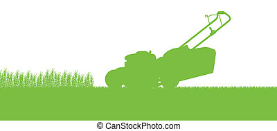 Lawnmower tractor cutting grass in field landscape abstract background illustration