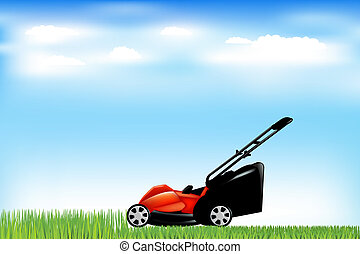 Red Lawn Mower With Grass And Blue Sky, Vector Illustration
