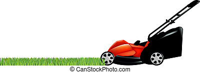 Lawnmower With Green Grass, Isolated On White Background,...
