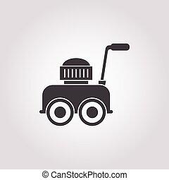 lawnmower, witte achtergrond, pictogram
