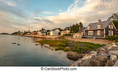 lawrence, st. 。, 表面仕上げ, 家, kamouraska, ケベック, 川