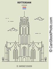 lawrence's, rue., rotterdam, église, repère, netherlands., icône