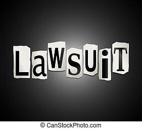 Lawsuit concept. - Illustration depicting cutout printed...