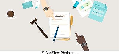lawsuit paper hands pen gavel on desk