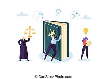 lawyer., 概念, 要素, 正義, 人々。, イラスト, ベクトル, lawbook, 特徴, 陪審, 法廷, 法律, 判断, judical