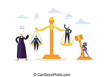 lawyer., 概念, 要素, 正義, 人々。, イラスト, judical, ベクトル, 特徴, 陪審, 法廷, 法律, 判断, 小槌