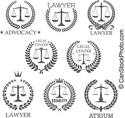 Lawyer and law office icons with scales of justice