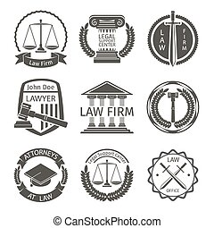 Lawyer and law office logo, emblem labels vector set