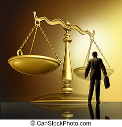 Lawyer and the law with a justice scale made of brass gold metal on a glowing background as a symbol of the legal advice, system in government and society in enforcing rights and regulations.