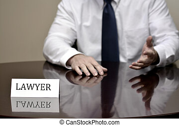 Lawyer at Desk with Business Card