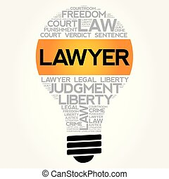 Lawyer bulb word cloud collage, law concept background