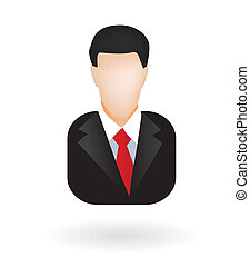 Illustration of businessman or lawyer as isolated icon or avatar