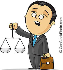 Cartoon attorney holding scales vector cartoon illustration