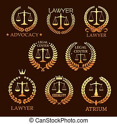 Lawyer golden emblem set with scale of justice