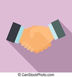 Lawyer handshake icon, flat style