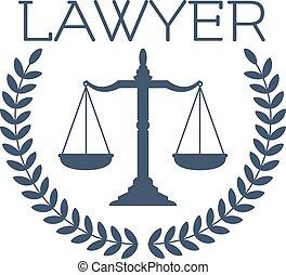 Lawyer icon, justice scales, laurel wreath emblem