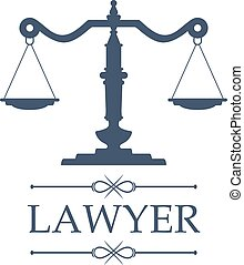 Lawyer icon of Justice scales vector emblem - Legal center...