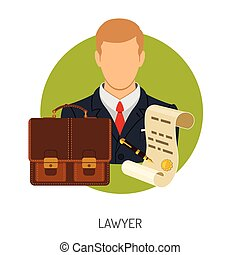 Lawyer Icon with Briefcase - Crime and Punishment Vector...