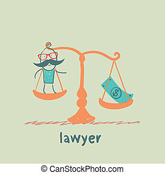 lawyer is in the balance with the money