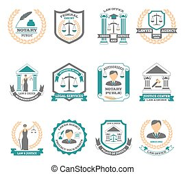 Lawyer Logo Set - Lawyer logo set with legal services court ...