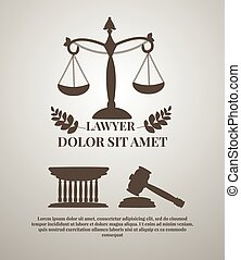 Lawyer logos set - Law firm logos, lawyer weight and gavel...