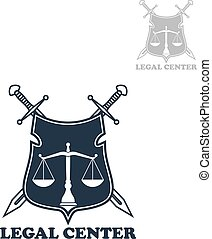 Lawyer office heraldic shield badge with swords