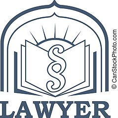 Lawyer or advocate vector isolated icon or emblem