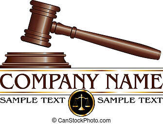 Illustration of a design for law, lawyers, or law firms that could be used as a logo. Includes a gavel, scales of justice and space for your text such as your company name, established date. etc.