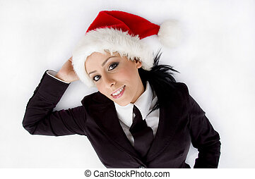 lawyer posing with christmas hat