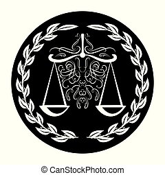 Lawyer sign of scale in laurel wreath on black background....